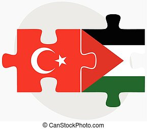 Turkey and Palestine Flags in puzzle isolated on white...