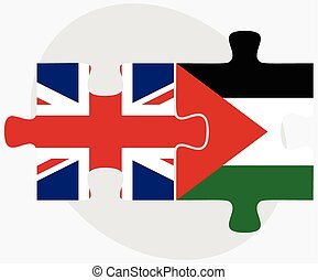 United Kingdom and Palestine Flags in puzzle isolated on...