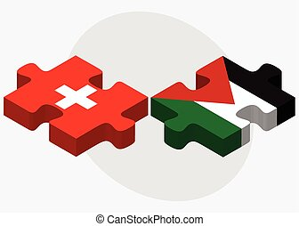 Switzerland and Palestine Flags in puzzle isolated on white...