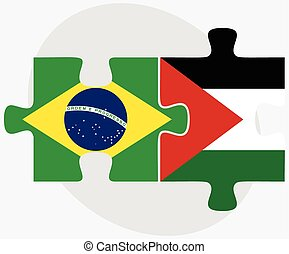 Brazil and Palestine Flags in puzzle isolated on white...