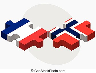 France and Norway Flags in puzzle isolated on white...