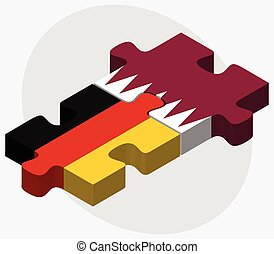 Germany and Qatar Flags in puzzle isolated on white...
