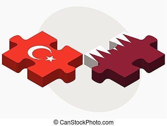 Turkey and Qatar Flags in puzzle isolated on white...