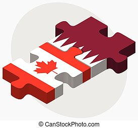 Canada and Qatar Flags in puzzle isolated on white...