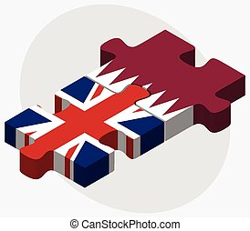 United Kingdom and Qatar Flags in puzzle isolated on white...