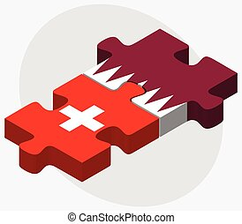Switzerland and Qatar Flags in puzzle isolated on white...