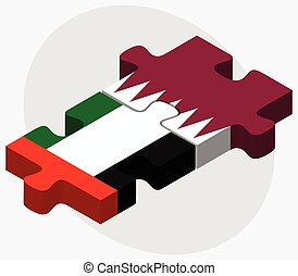 United Arab Emirates and Qatar Flags in puzzle isolated on...