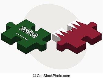 Saudi Arabia and Qatar Flags in puzzle isolated on white...