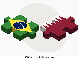 Brazil and Qatar Flags in puzzle isolated on white...