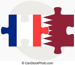 France and Qatar Flags in puzzle isolated on white...