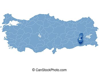 Map of Turkey, Batman - Map of Turkey where Batman province...