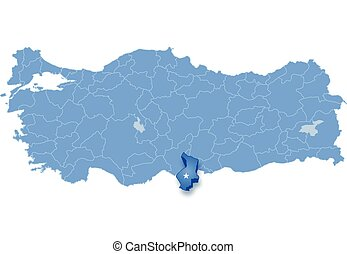 Map of Turkey, Hatay - Map of Turkey where Hatay province is...