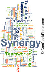 Synergy background concept - Background concept wordcloud...