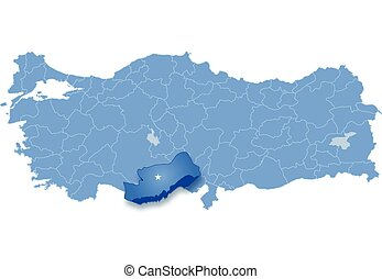 Map of Turkey, Mersin - Map of Turkey where Mersin province...