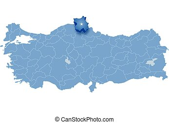 Map of Turkey, Sinop - Map of Turkey where Sinop province is...