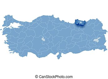 Map of Turkey, Trabzon - Map of Turkey where Trabzon...