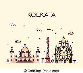 Kolkata skyline trendy vector illustration linear - Kolkata...