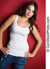 Girl Wearing Blue Jeans - Girl wearing blue jeans and white...