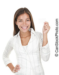 Business Card Woman - Business card woman. Portrait of a...
