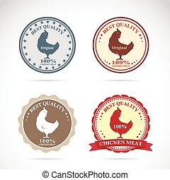Set of vector an chicken label on white background