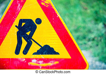 Road work danger sign.