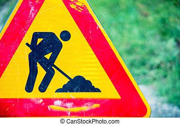 Road work danger sign.