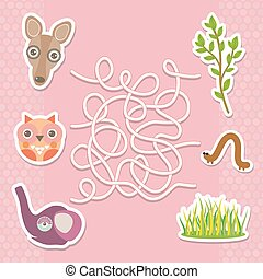 Kangaroo owl elephant labyrinth game for Preschool Children. Vector