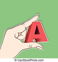 'A' alphabet hold in hand design vector