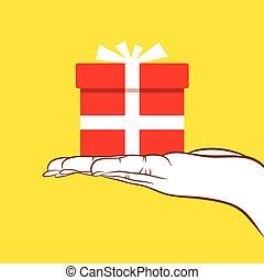 Dar, grande, concepto, diseño, regalo