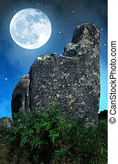 Megalithic monuments menhirs