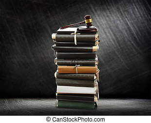 Od paper folders and gavel - Stack of old paper folders and...