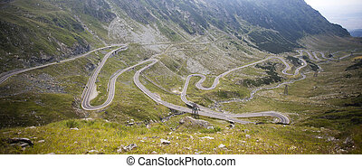 Transfagarasan road crossing the mountains, Transylvania,...