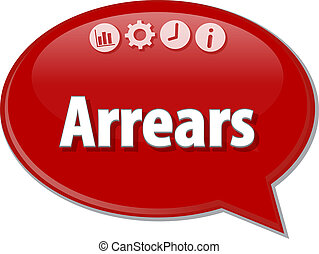 Arrears Business term speech bubble illustration - Speech...