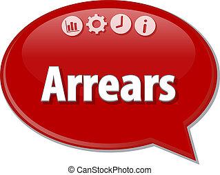Arrears Business term speech bubble illustration - Speech...