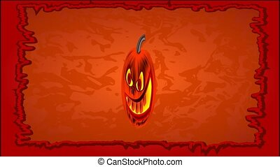 Happy Halloween frame with pumpkin - Animation of...