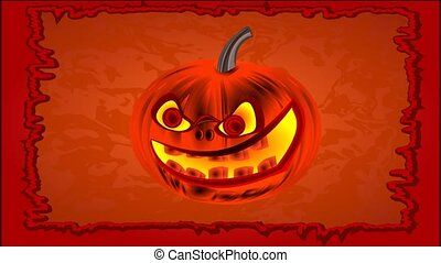 Happy Halloween of cheerful pumpkin - Animation of...