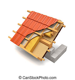 3d illustration. The section of the roof structure with...