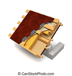 3d illustration. The cut design of the roof with shingles on a white background