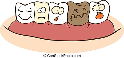 Damaged Tooth - Fun Faces On Teeth, cartoon characters...