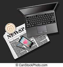 newspaper and mobile phone with latte art and laptop - top...