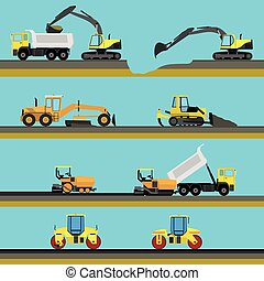Set of seamless horizontal road construction background with...