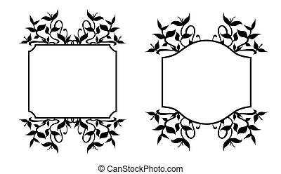 Floral Frames Set - Plant sprouts frame decoration - Set of...