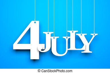 4th july - text hanging on the string - Blue background with...
