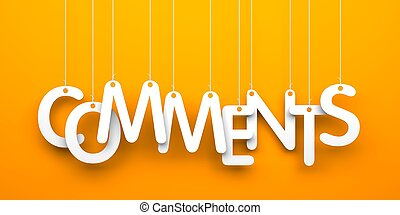 Comments. Text on the string - Orange background with...