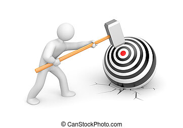 Man shoots a target - Business concept Isolated on white