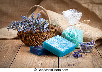 Homemade Soap with Lavender Flowers and Sea Salt