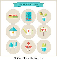 Flat Gardening and Flowers Icons Set