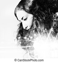 Double exposure of beautiful girl and city lights at night,...