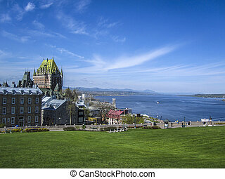 View of old Quebec and the Chateau Frontenac, Canada. - View...