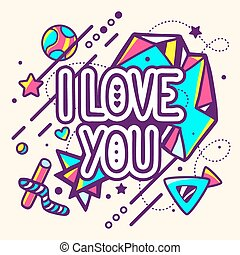 Vector illustration of colorful I love you quote on abstract...
